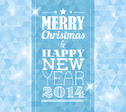 Vector vintage retro christmas card on blue background Stock Image