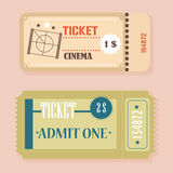 Vector Vintage Retro cinema tickets concept. Royalty Free Stock Image