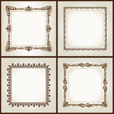 Vector vintage retro frames ornament label Stock Photos