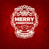 Vector vintage retro grange trendy Merry Christmas card Royalty Free Stock Image