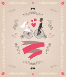 Vector vintage retro wedding invitation, hand Stock Image