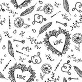 Vector vintage romantic hand drawn seamless pattern. Hearts, love, flowers, keys black and white background. Royalty Free Stock Images