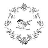 Vector vintage round frame with birds and apple flowers. Floral wreath. Black and white. Fit for wedding card Royalty Free Stock Images