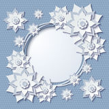 Vector vintage round frame with 3d blue flowers. Beautiful vintage round frame with 3d blue paper cut flowers. Vector illustration Royalty Free Stock Photography