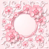 Vector vintage round frame with 3d light pink flowers. Beautiful vintage round frame with 3d light pink paper cut flowers. Vector illustration Stock Photo