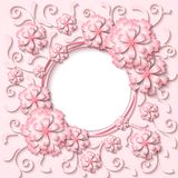 Vector vintage round frame with 3d light pink paper cut out flowers. Beautiful vintage round frame with 3d light pink paper cut out flowers. Vector illustration Royalty Free Stock Photos