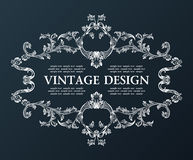 Vector vintage royal old frame ornament decor black Royalty Free Stock Images