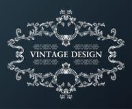 Vector vintage royal old frame ornament decor black. Illustration Royalty Free Stock Images