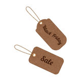 Vector vintage sale tags from grunge cardboard Stock Photo