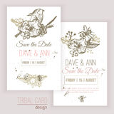 Vector vintage save the date set with flowers, bee Stock Photography