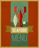 Vector vintage seafood menu poster with fish, lobster and lemon. Retro seafood poster with grunge background and ribbon. Seafood design template can be used Stock Images