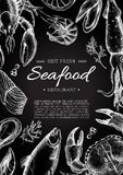 Vector vintage seafood restaurant flyer. Royalty Free Stock Photos