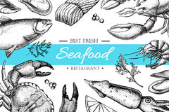 Vector vintage seafood restaurant illustration. Stock Photography