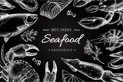 Vector vintage seafood restaurant illustration. Royalty Free Stock Photos