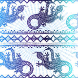 Vector vintage seamless ethnic pattern image lizards and lines Stock Photo
