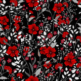 Vector vintage seamless floral pattern. Herbs and wild flowers. Botanical Illustration engraving style. Colorful red gray on black background Vector Illustration