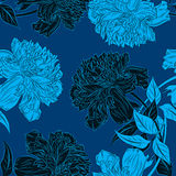 Vector vintage seamless floral pattern with peonies Royalty Free Stock Image