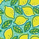 Retro pattern with lemons. Vector vintage seamless pattern with lemons and leaves. Retro pattern with lemons Royalty Free Stock Images