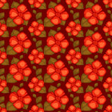 Vector vintage seamless pattern with red flowers Stock Photos