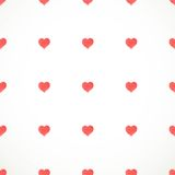 Vector vintage seamless pattern from small red watercolor hearts Royalty Free Stock Photography