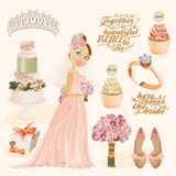 Vector vintage set of decorative wedding elements in vintage style Stock Images