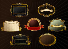 Vector vintage set. Gold frames decorative label Stock Photography