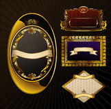 Vector vintage set. Gold frames ornate label Stock Images