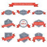 Vector vintage set of labels with ribbons Stock Photography