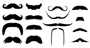 Vector vintage set of variants fake mustache. Photo props booth for little man party. Dad day, birthday, baby boy shower Black silhouette isolated on white Stock Image