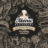 Vector vintage sketch fast food illustration. design template menu covers for restaurant or cafe Royalty Free Stock Photography
