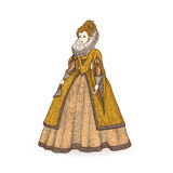 Vector vintage sketch illustration. Gentlewoman Elizabethan epoch 16th century. Medieval lady in a rich dress with large Stock Images