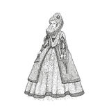Vector vintage sketch illustration. Gentlewoman Elizabethan epoch 16th century. Medieval lady in a rich dress with large Stock Image