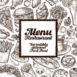 Vector vintage sketches fast food illustration. design template menu covers for restaurant or cafe Royalty Free Stock Photography
