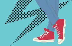 Vector vintage sneakers. Eps file stock illustration
