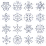 Vector vintage snowflake set in zentangle style. 16 original sno. W flakes for Christmas, New Year decoration. Hand drawn  doodle objects. Eps10 Royalty Free Stock Photo