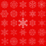 Vector vintage snowflake set in zentangle style. 25 original sno. W flakes  on red background, for Christmas, New Year decoration. Hand drawn doodle objects Royalty Free Stock Image