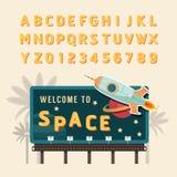 Vector vintage space rocket billboard sign, vintage signboard, v. Intage banner with fonts set royalty free illustration