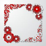 Vector vintage square frame with 3d paper cut flowers in red and white colors. Beautiful vintage square frame with 3d paper cut flowers in red and white colors royalty free illustration