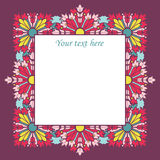 Vector vintage square frame with flowers Stock Image