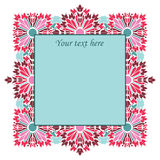 Vector vintage square frame with flowers Royalty Free Stock Photos