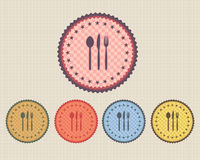 Vector Vintage Sticker Dinner Icon Button. Vector icons, you can change this image that it was uploaded also with eps10 file Royalty Free Stock Photo