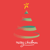 Vector : Vintage style of christmas tree on red background with Stock Images