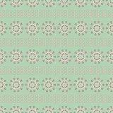 Vector vintage style floral folk stripes in green, pink and cream. Seamless repeat pattern background. stock illustration