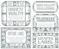 Vector vintage style labels with grapes for decoration and design Stock Photo