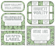 Vector vintage style labels with grapes for decoration and design Royalty Free Stock Images