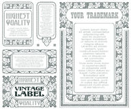 Vector vintage style labels with grapes for decoration and design Stock Image