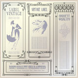 Vector vintage style labels and tags on different versions Stock Photo