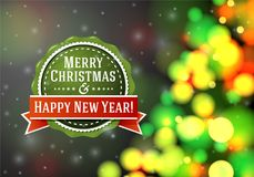 Vector vintage stylized green Merry Christmas label. On bright blurred background with xmas tree and snowflakes. Bright blurred background with xmas tree and Royalty Free Stock Images