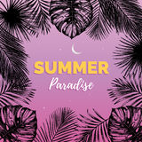 Vector vintage summer paradise illustration. Exotic palm leaves background. Hand sketched jungle foliage poster. Color tropic plants frame Stock Image