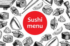 Vector vintage sushi restaurant menu illustration. Royalty Free Stock Images